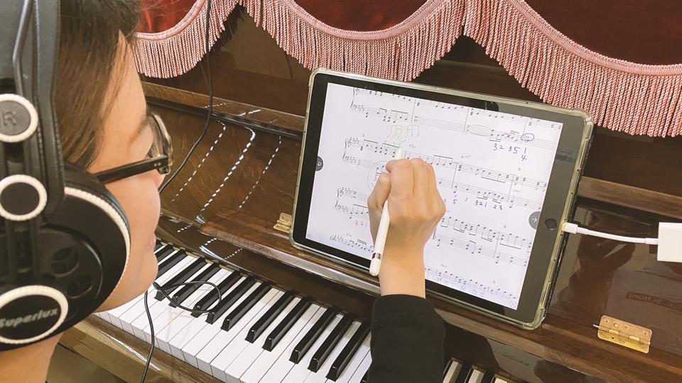 いつもの楽譜にいつもの書き込み